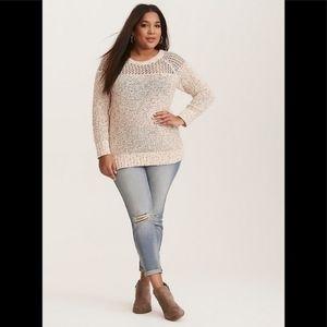 Torrid open weave yoke raglan sweater 2 2x